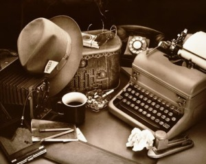 STILL LIFE / REPORTER'S DESK WITH TYPEWRITER & BOX CAMERA